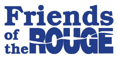 Stylized logo for Friends of the Rouge, with a water-like pattern over the word