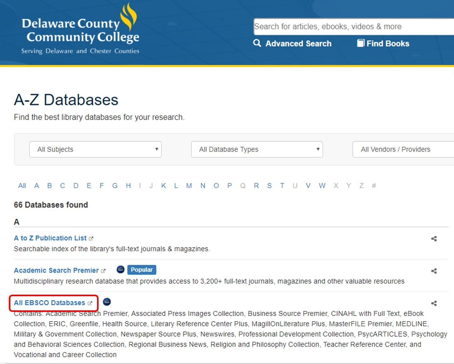 All EBSCO Databases link in the All Databases list.