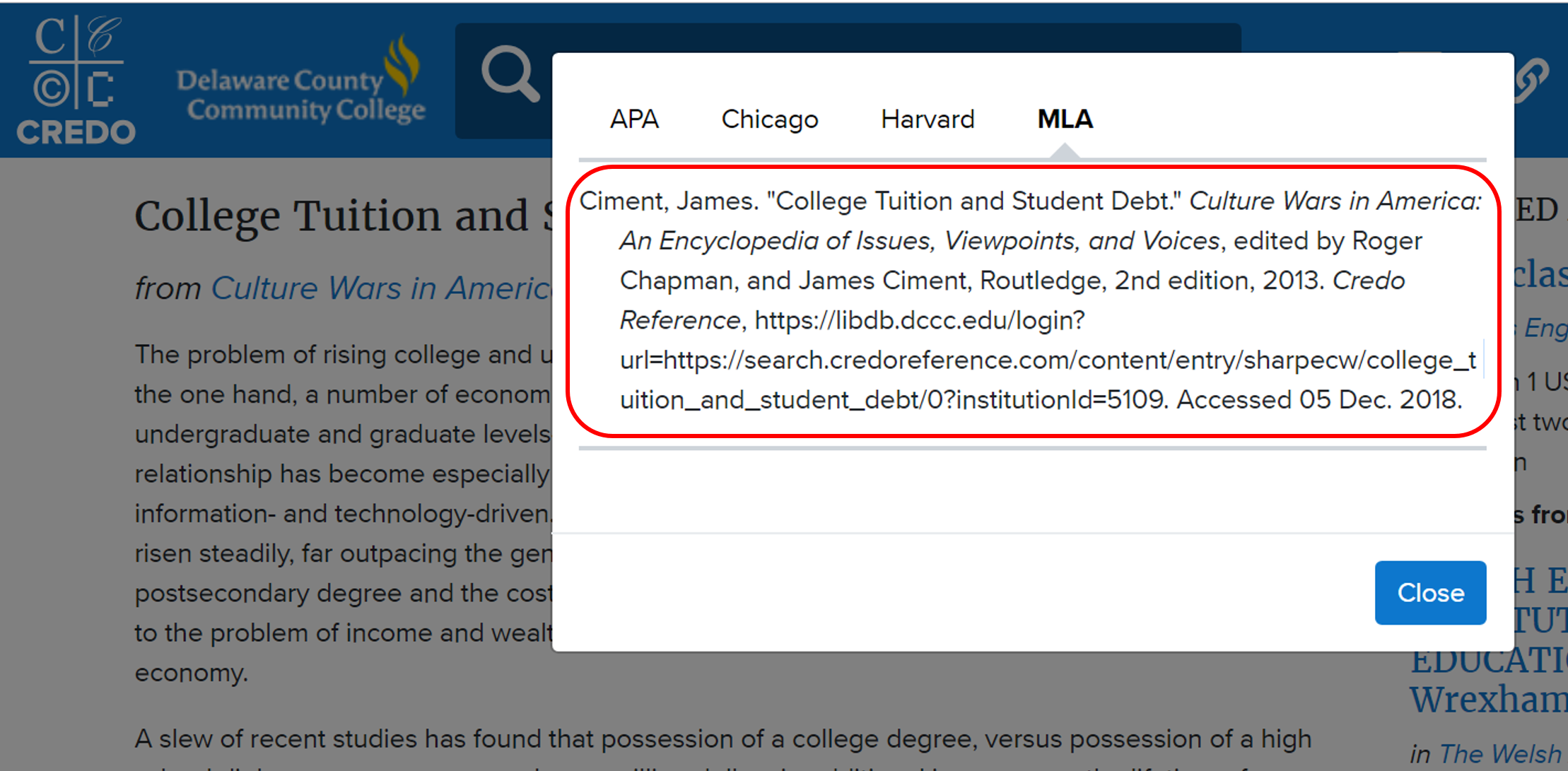 Highlight, copy, and paste the citation into your paper or presentation.