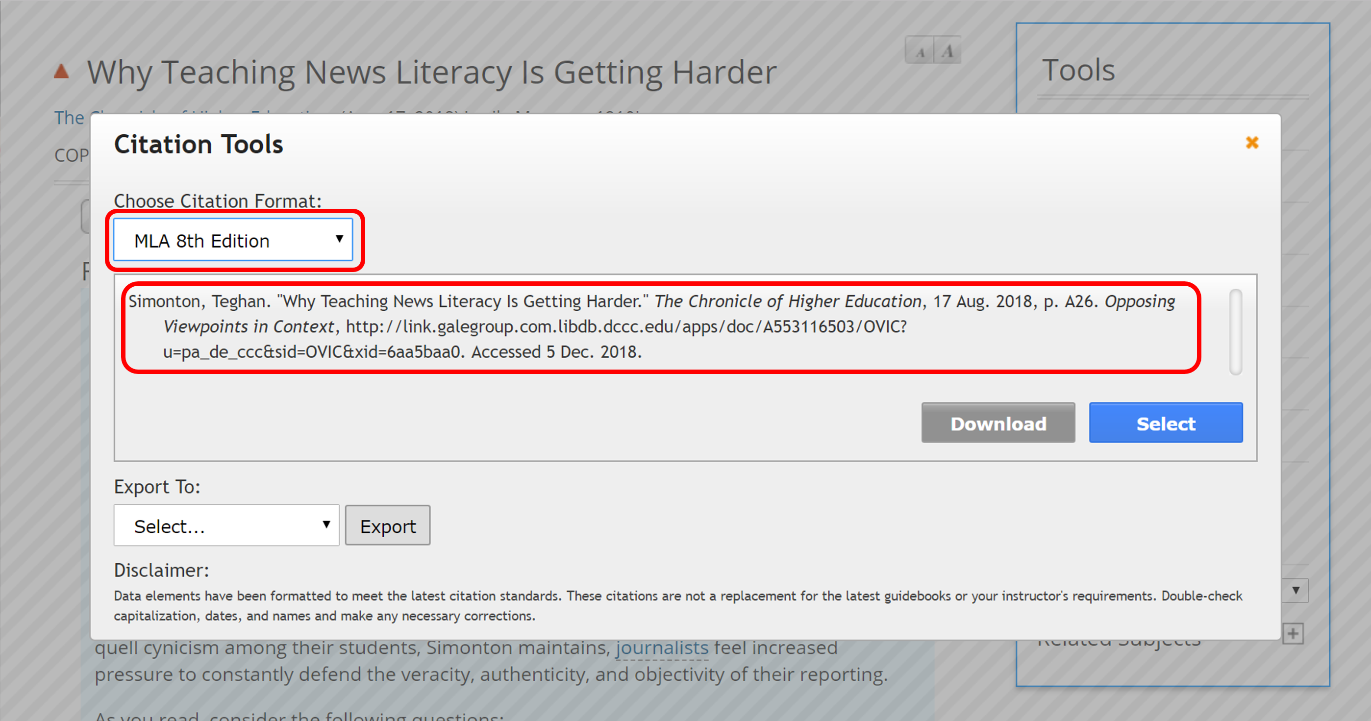Select your citation style, then select, copy, and paste the citation.