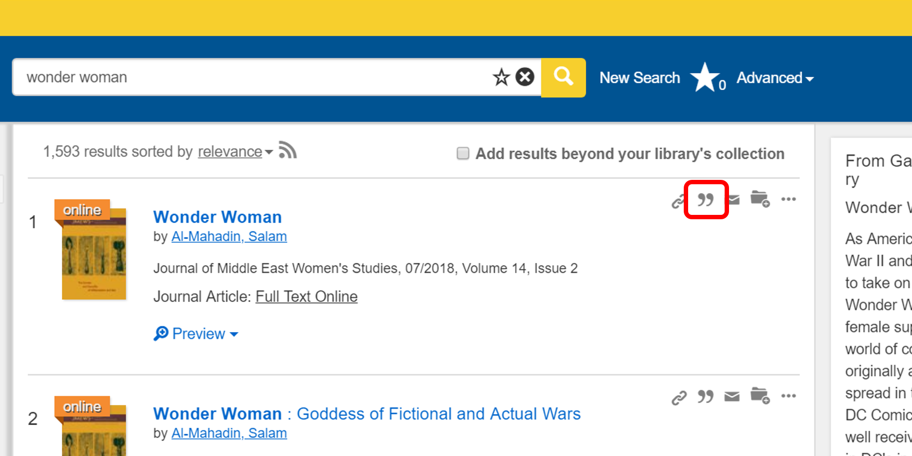 In your search results, click the quotation mark next to the article you want to cite.