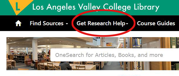 "Link on LAVC Library Website for ""Get Research Help"""