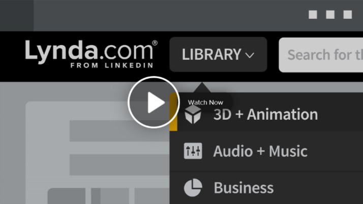 Lynda.com from LinkedIn Library Search for Watch Now 3D + Animation Audio + Music Business