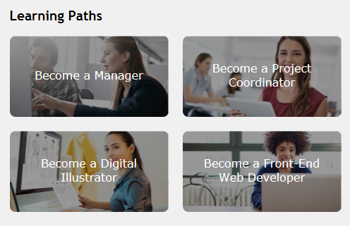 Learning paths Become a Manager Become a Project Coordinator Become a Digital Illustrator Become a Project Coordinator