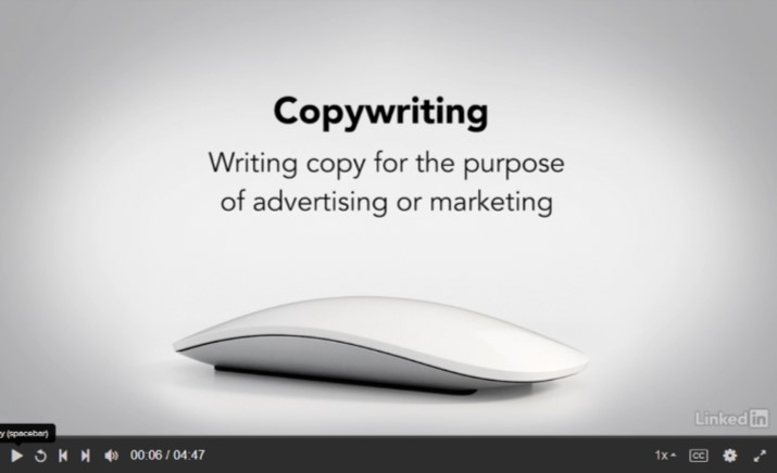 Video screen: Copywriting - writing copy for the purpose of advertising or marketing LinkedIn