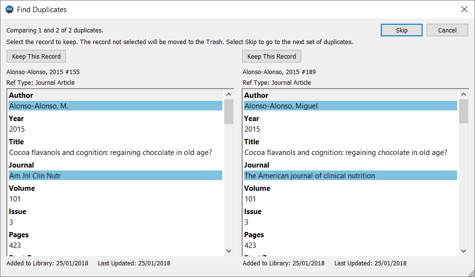 screenshot showing two duplicate records to select from, with differing fields highlighted