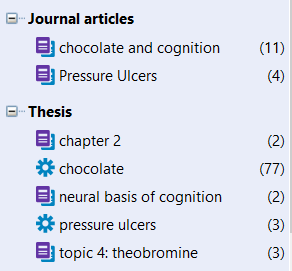 screenshot of example groups in EndNote