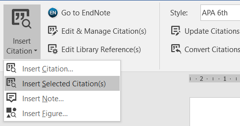 screenshot of Insert Citation button and menu in Word