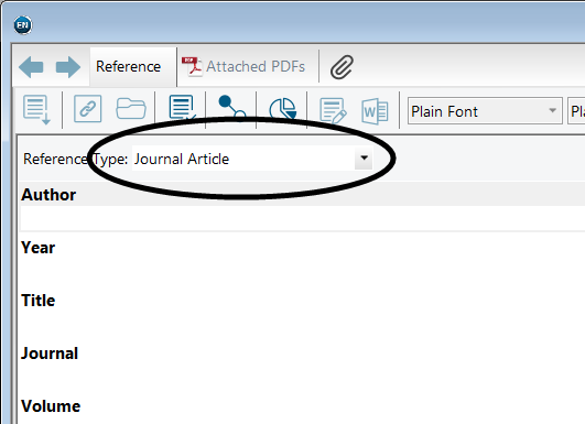 screenshot showing Reference Type drop-down in EndNote