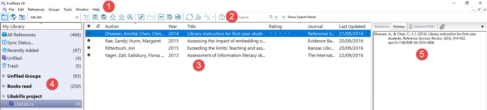 screenshot of EndNote interface with appropriate areas numbered
