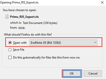 EndNote showing in Firefox dialog box for opening RIS files