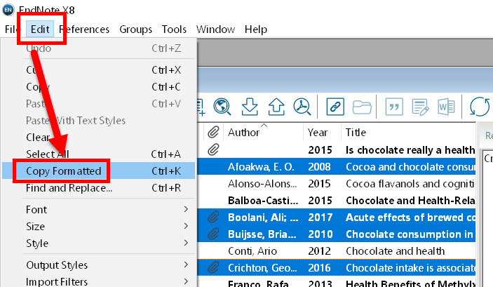 screenshot showing EndNote Edit menu, with Copy Formatted option indicated