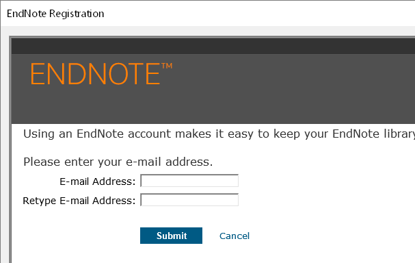 screenshot of first sign up screen, showing two email input fields and Submit button