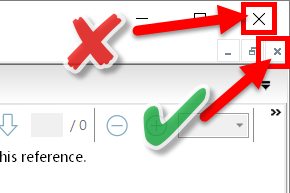screenshot indicating correct close button for reference window and incorrect close button for the whole EndNote application