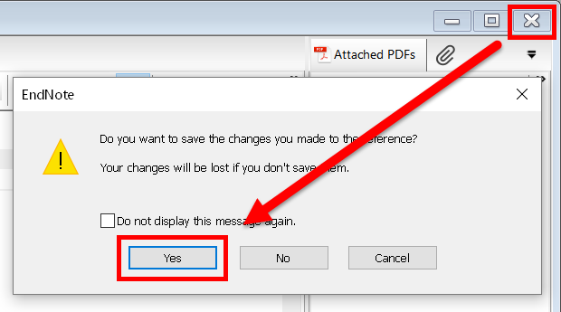 screenshot showing close button and save dialog box