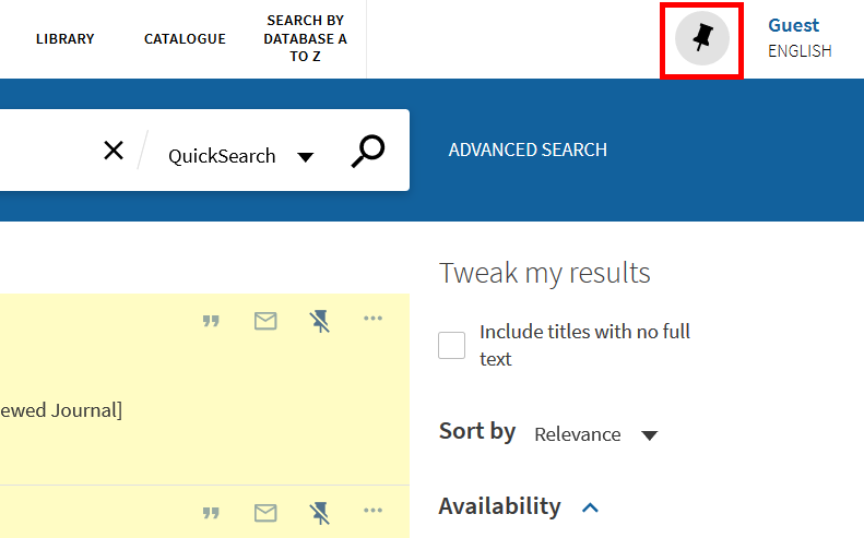screenshot from QuickSearch, indicating icon to go to favourites