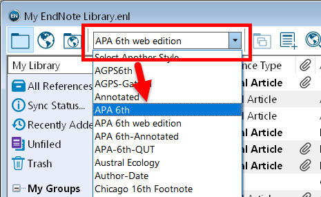 screenshot showing EndNote style selection drop-down