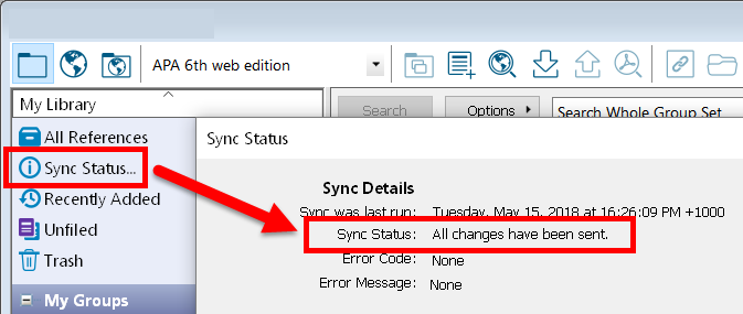 screenshot of sync status showing completed sync message