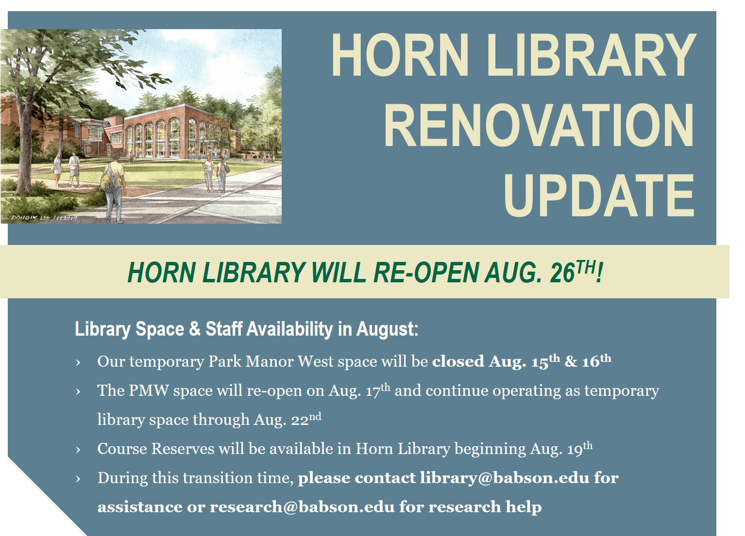 Horn Library Renovation Update