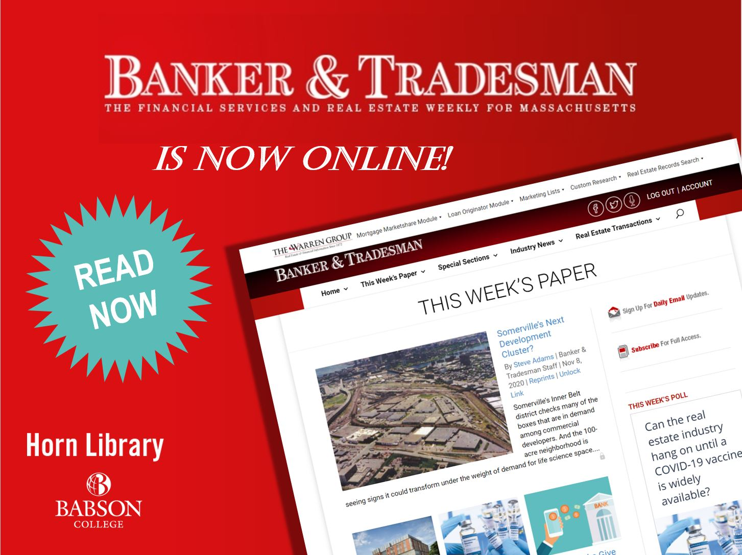 Banker & Tradesman is now online! Read Now
