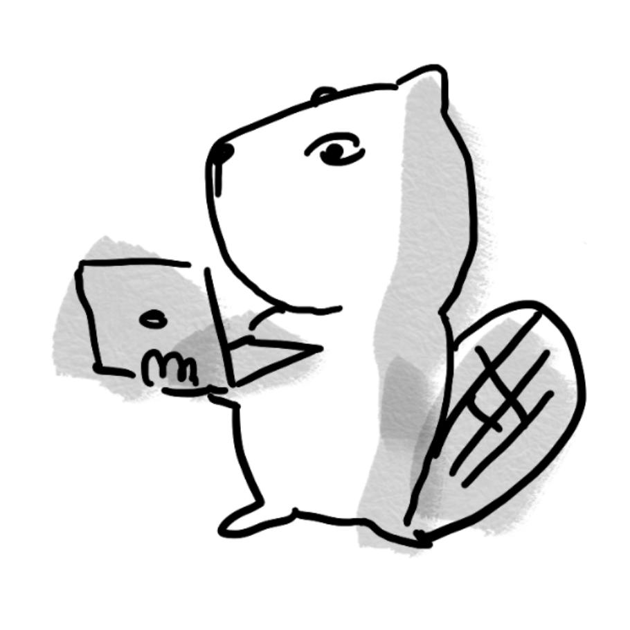Horn Library beaver mascot on laptop