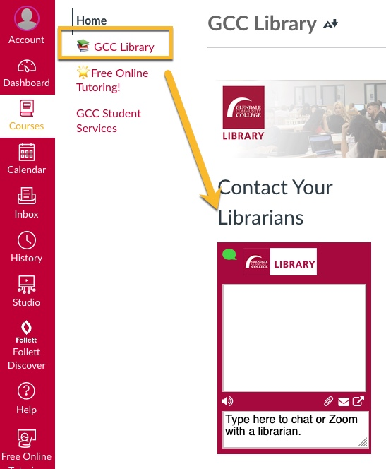 Find GCC Library Chat in Canvas