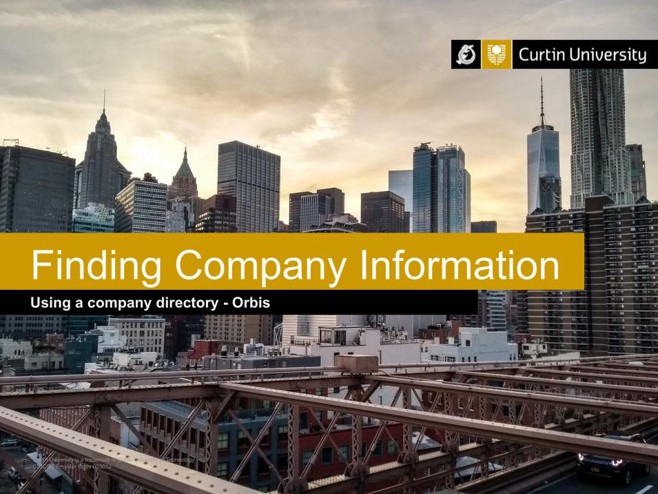 Picture link to video demonstrating how to search for company type and location in Orbis database