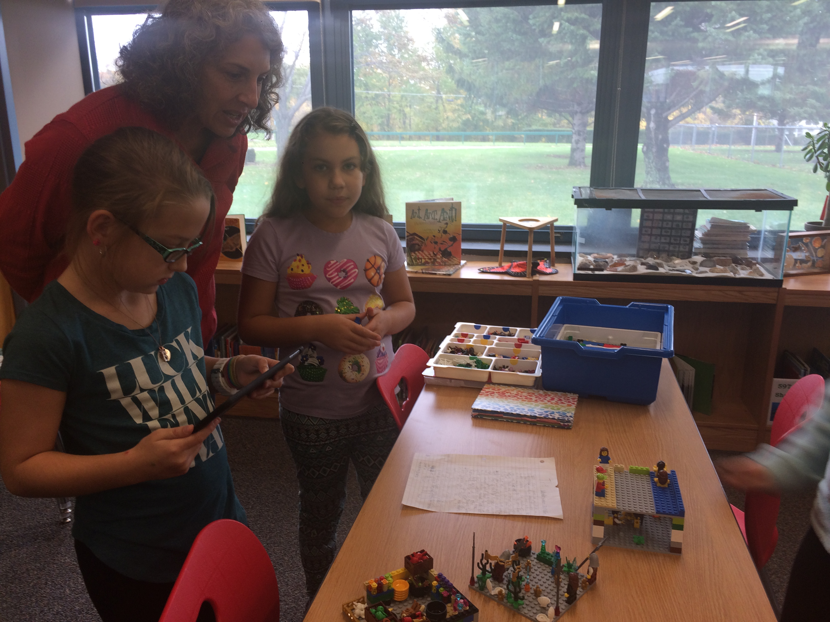 Students using makerspace materials