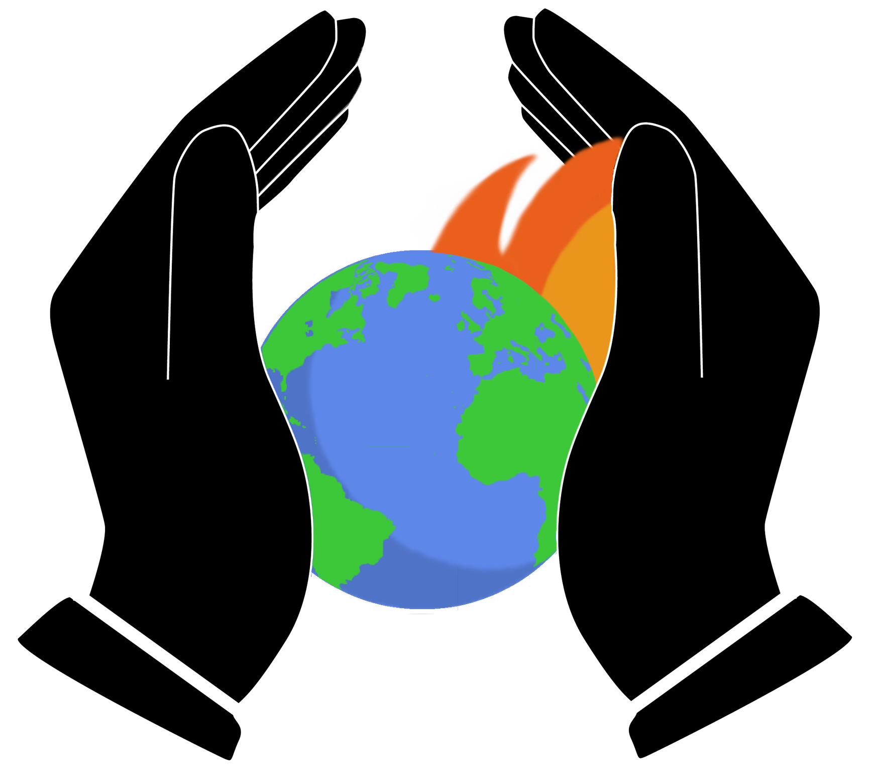 graphic of hands holding planet earth with flames