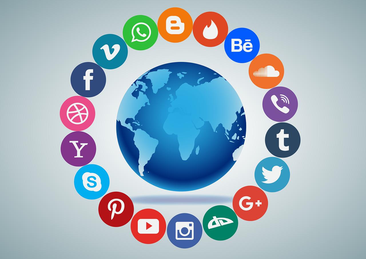 Globe inside social media icons