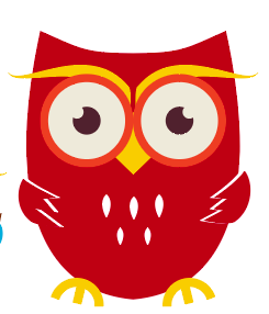graphic of owl holding a book