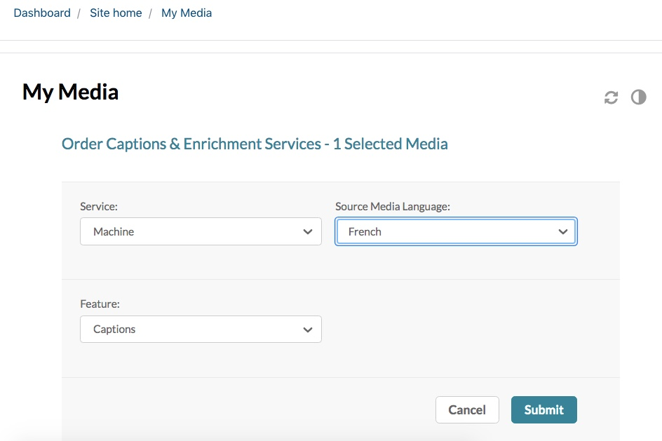 Captions and Enrichment page in Kaltura My Media, showing source media language selector