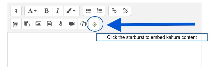 The Moodle text editor interface with an arrow pointing to the Kaltura button