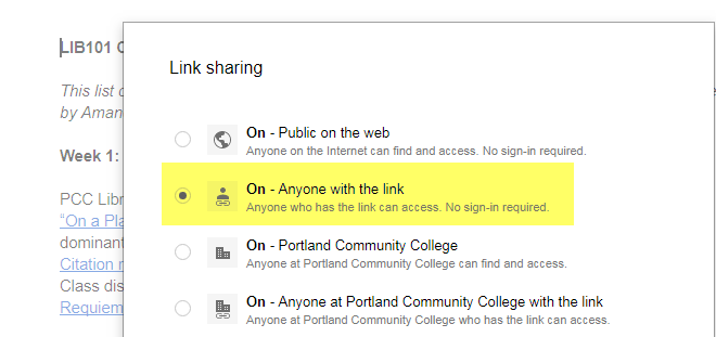 screenshot of google drive advanced sharing settings
