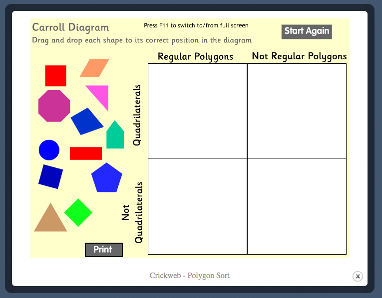 Polygon Carroll Diagram Sorting game image