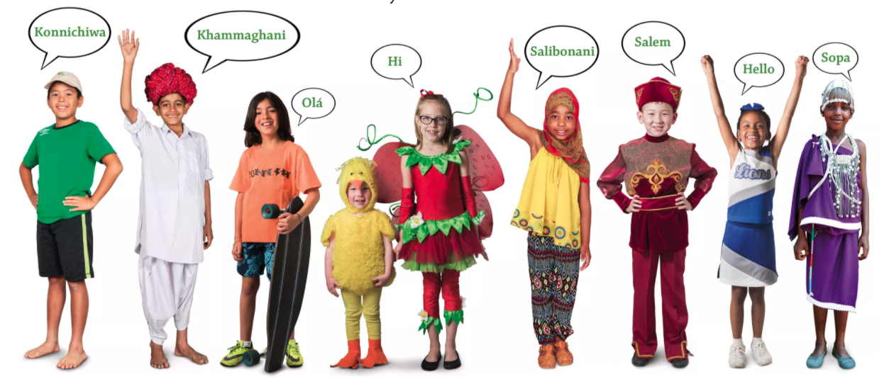 multi cultural children with hello in different languages