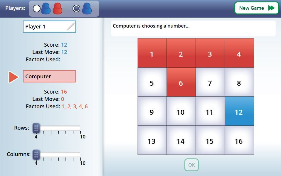 NCTM Factor Game  screenshot