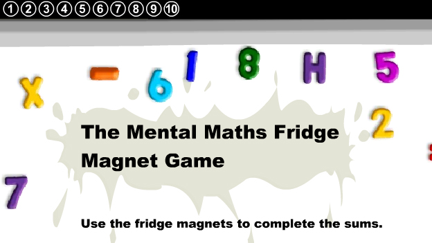 fridge magnets subtraction game