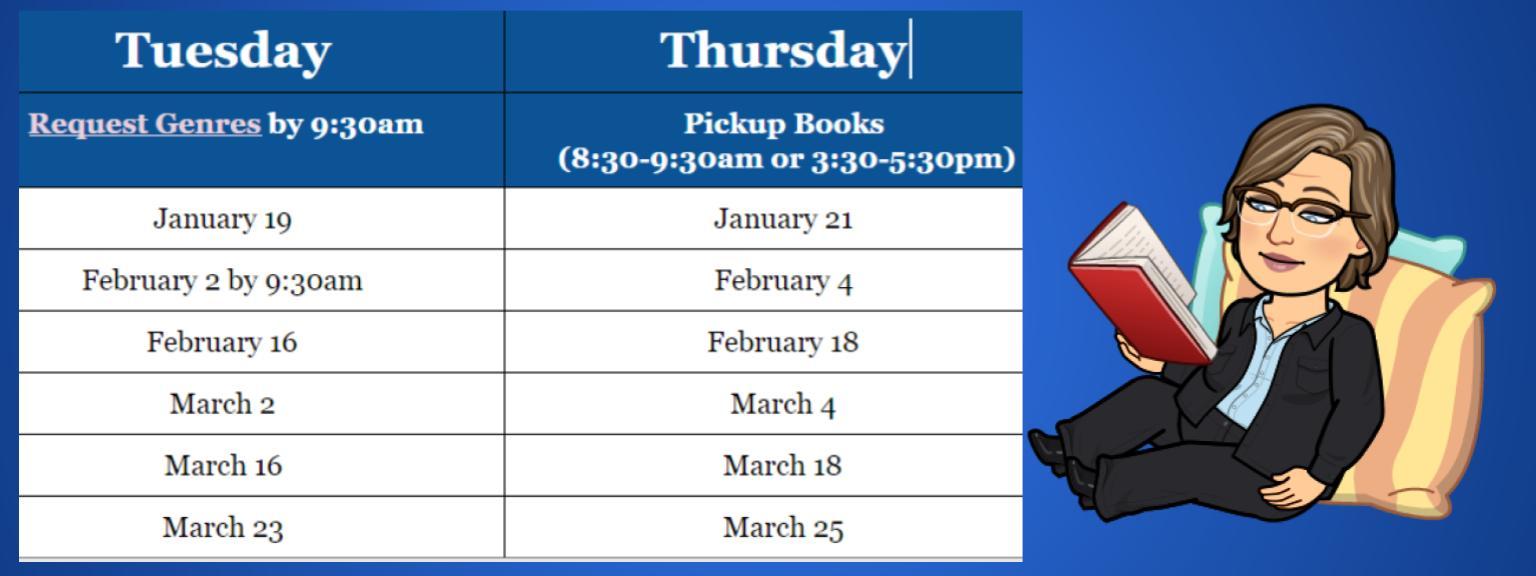 3rd Quarter Book Checkout Dates