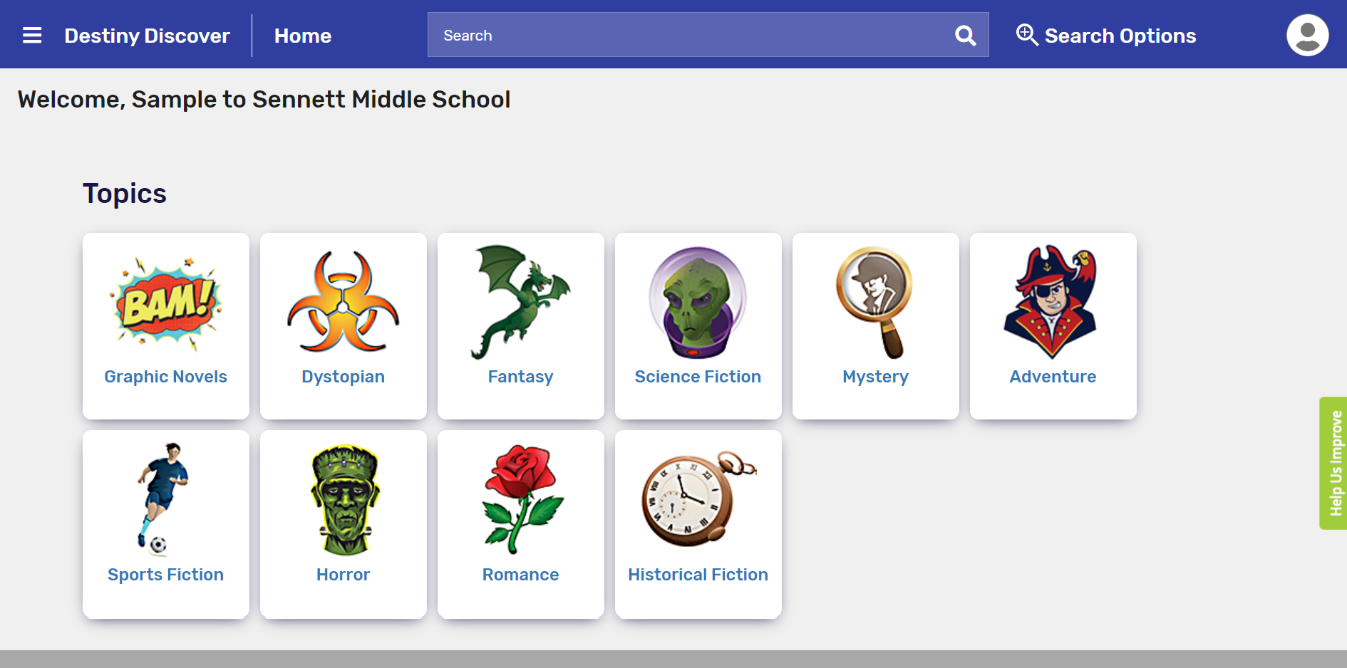 Screenshot of the school's Destiny Discover homepage