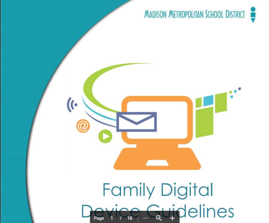 Cover image of the digital device guidelines booklet- MMSD logo and computer/email/@sign icons with swirls