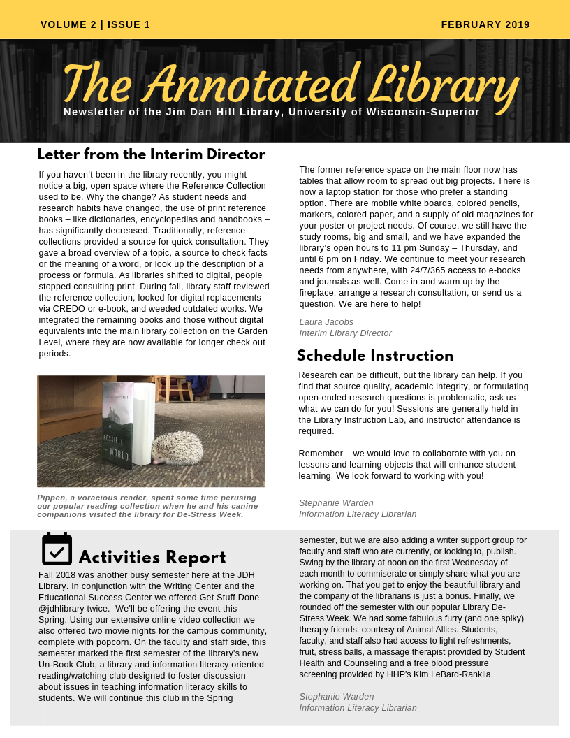 Annotated Library Volume 2 Issue One front page image