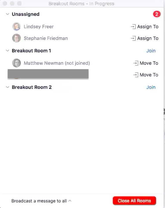 Breakout rooms management window with 2 people unassigned and 2 people in breakout room 1