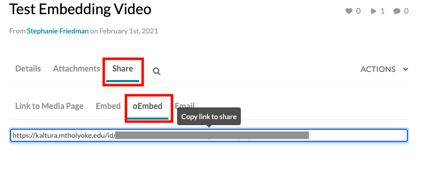 Video interface in Kaltrua with share tab and oEmbed subtab selected