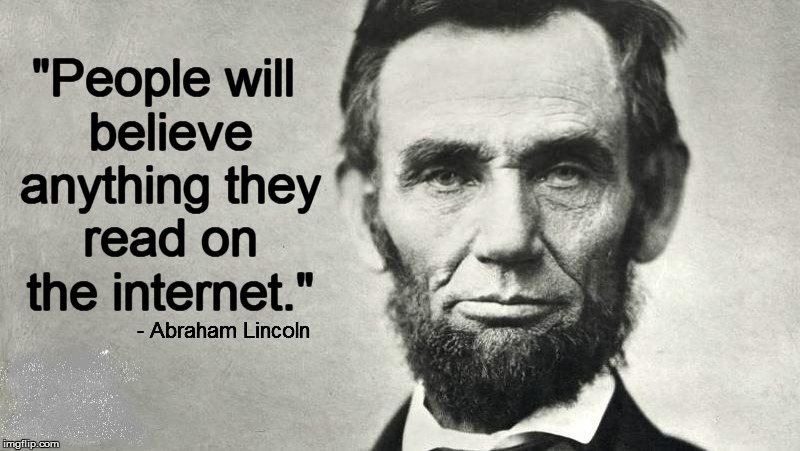 Abraham Lincoln meme image with misquote