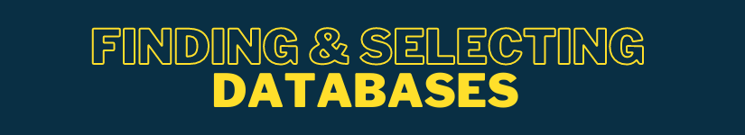 Finding & Selecting Databases banner graphic
