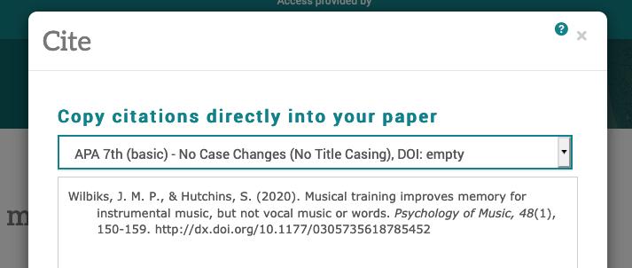 screenshot of Cite in PsycInfo