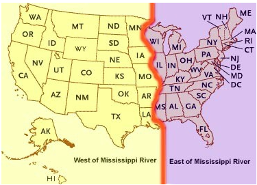 Map: States West of the Mississippi