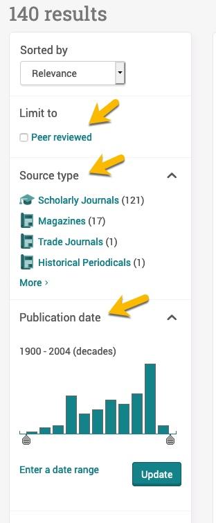 screenshot of filters