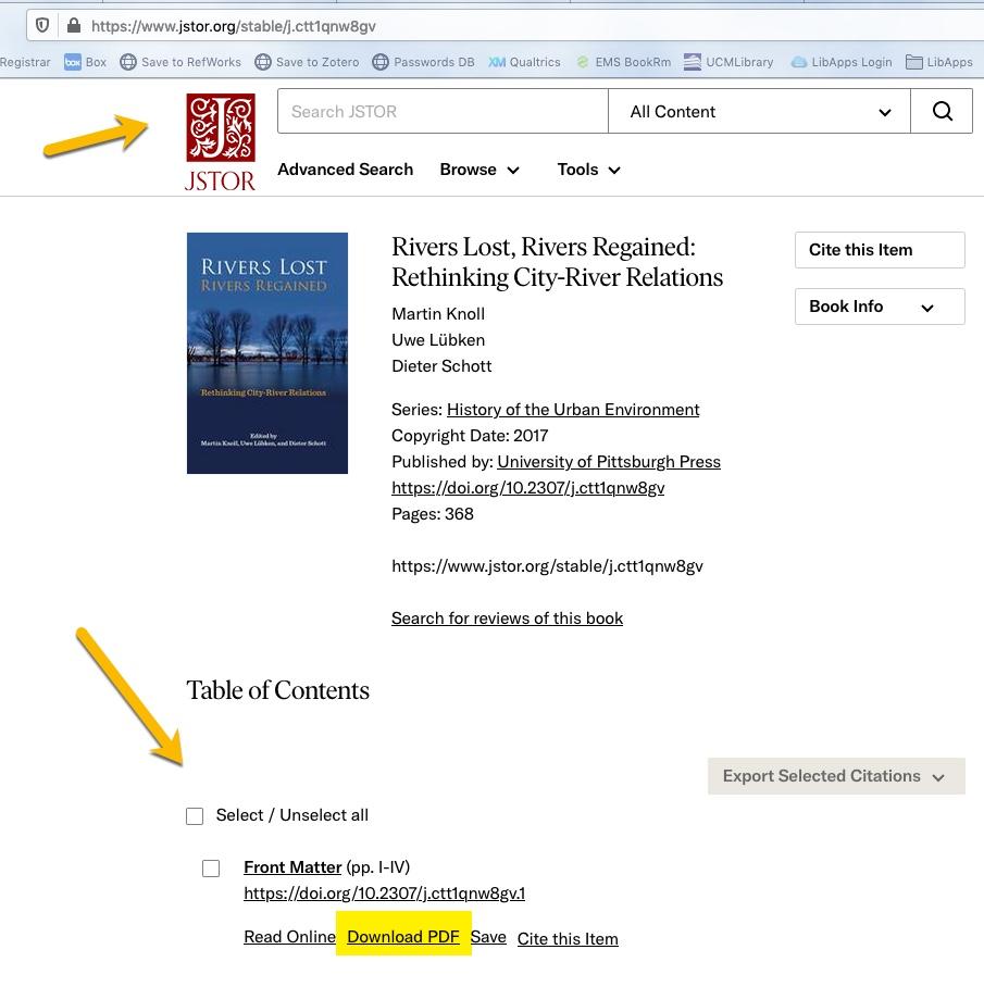 ebook on JSTOR platform screenshot